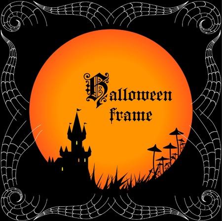 gruselig: Halloween Rahmen mit einem Schloss