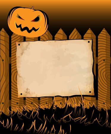 Halloween pumpkin on a fence with pinned aged paper Vector