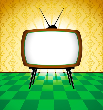 Retro TV dans la salle avec du papier peint