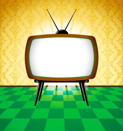 television antigua: Retro tv en la sala con papel pintado