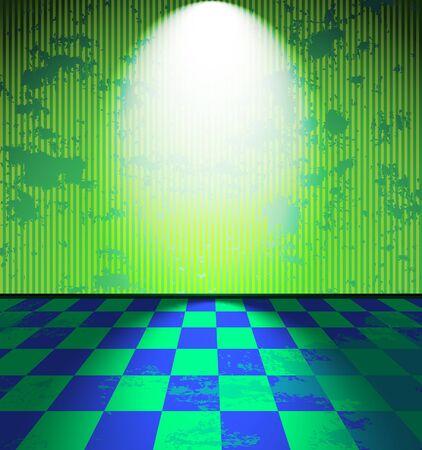 abandoned warehouse: Lightened green grunge room
