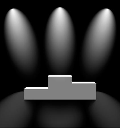 winner podium: Pedestal in a dark room