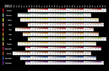 Black linear calendar 2012 Vector