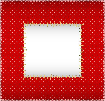 Polka dot stitched frame Vector