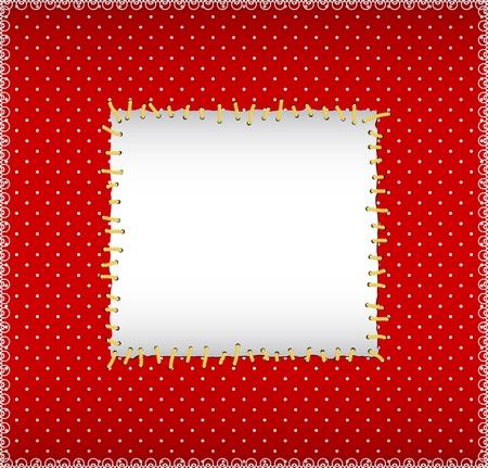 red stitches: Polka dot stitched frame