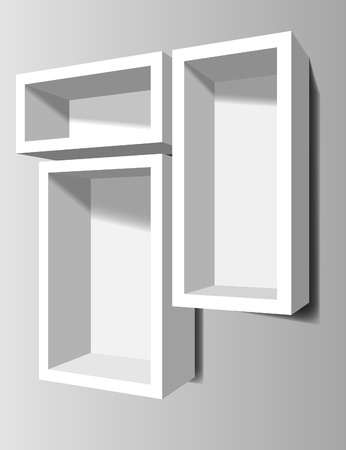 White shelves on the wall Vector