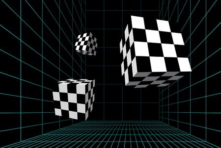 Checkered cubes in a wired room Vector
