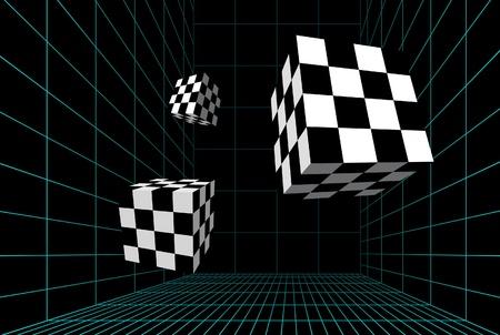piso negro: Cubos de cuadros en una habitaci�n con cable Vectores