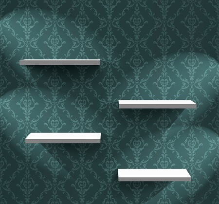 wallpaper wall: Lightened shelves on the wall with wallpaper