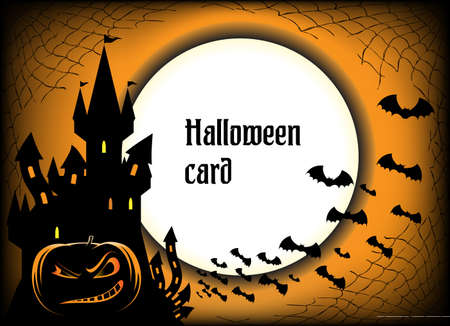 Halloween card with castle Vector