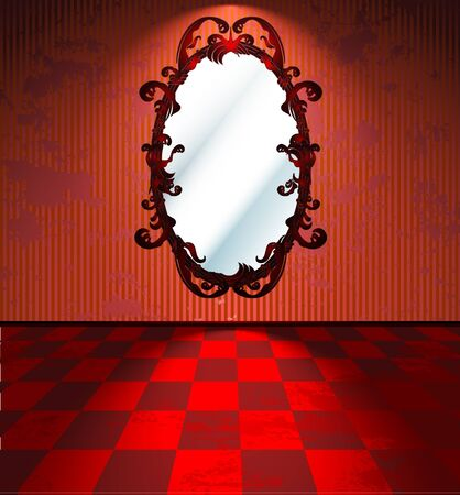 Red room with mirror Stock Vector - 10841630