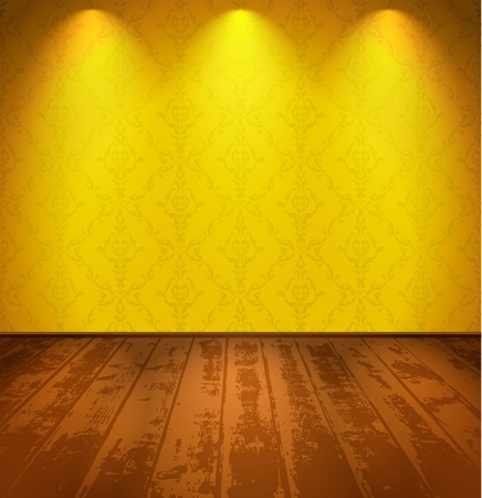 Lightened room with a wooden floor Vector