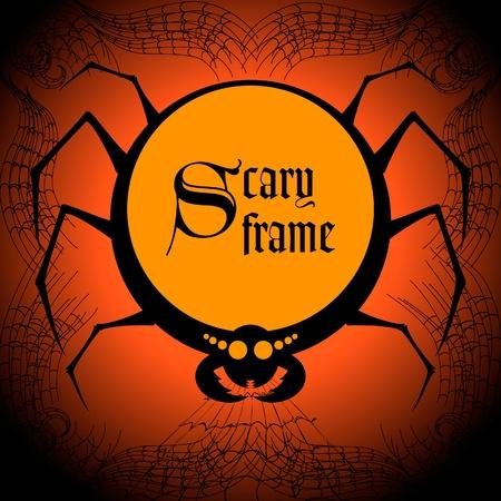 Spider halloween frame Vector