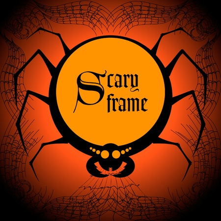 spider net: Spider halloween frame Illustration