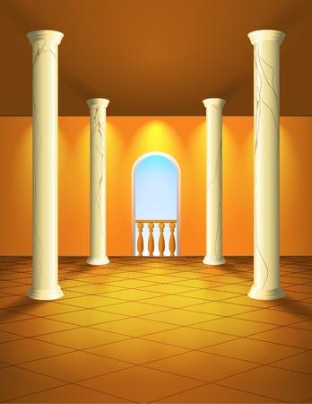 innen: Erleichtert S�ulenhalle Illustration