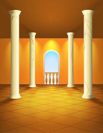 art gallery interior: Lightened column hall Illustration