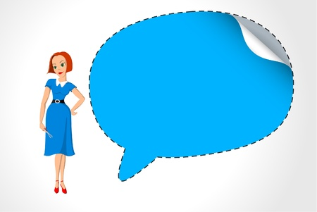 Office girl cuts out speech bubble Vector
