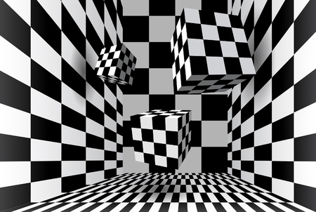 Checkered cube room Vector