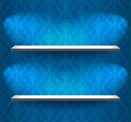 Two shelves on the wall with wallpaper Stock Vector - 10841635