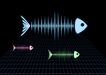 Sonar fishes floating over the grid Vector