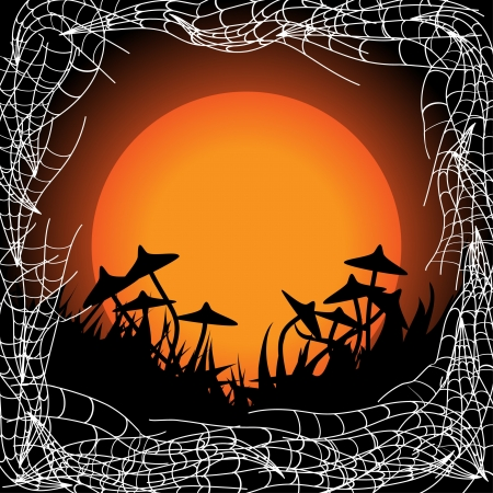 Halloween frame with mushrooms Vector