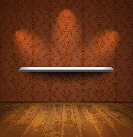 storage room: Lightened shelf in a room with wooden floor