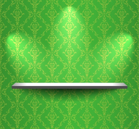 expansive: Shelf on a green wall