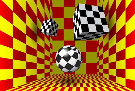Red and yellow checkered room with figures Vector