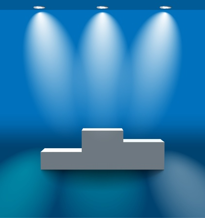 Blue pedestal room Vector