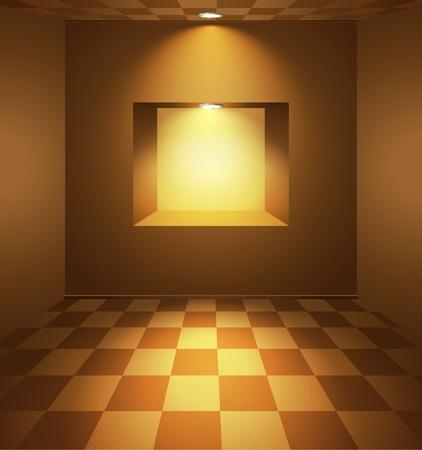 Sala marrone con nicchia