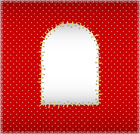Polka dot fabric with stitched patch Vector