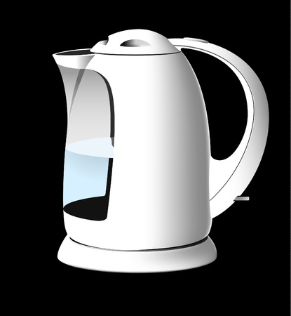 White kettle with water Vector