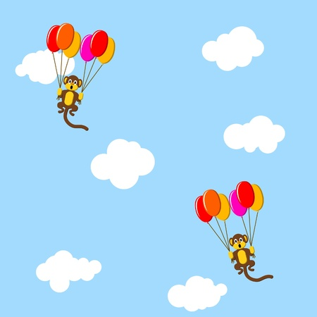 Monkeys flying with the balloons Vector