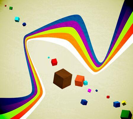 Ribbon and cubes Vector