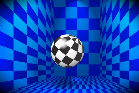 Checkered ball in a blue room Vector