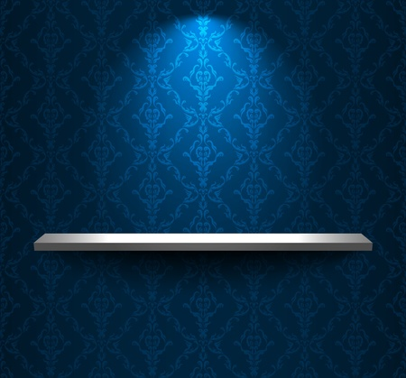 Shelf in a room with blue wallpaper Vector