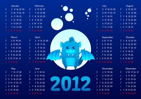 2012 calendar with dragon Vector