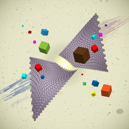 Flying cubes and hexagon nets Vector
