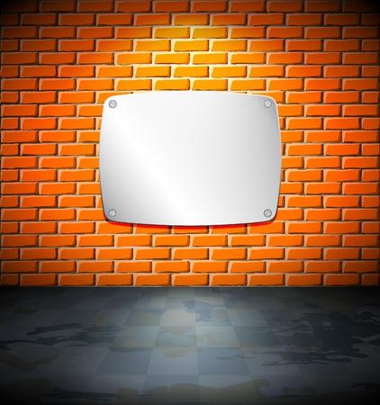 Metal screen on a brick wall Vector