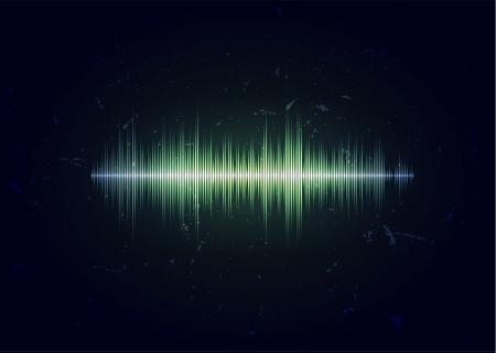 Aged-Karte mit Sound-Wellenform Vektorgrafik
