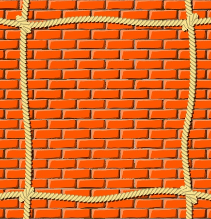 Brick wall with ropes Vector