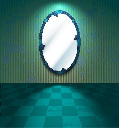 craquelure: Chambre verte avec miroir