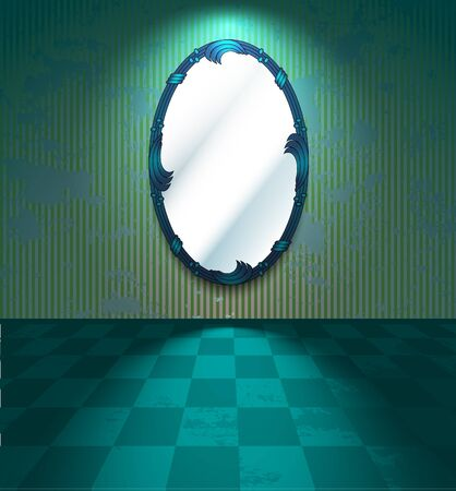 Green room with mirror Stock Vector - 11132879