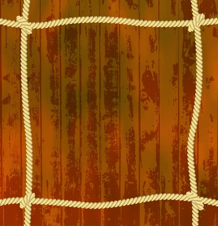 Rope frame with wooden background Vector