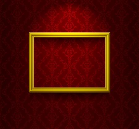 Houten frame op de muur met behang Vector Illustratie