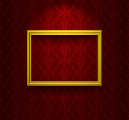 Wooden frame on the wall with wallpaper Vector