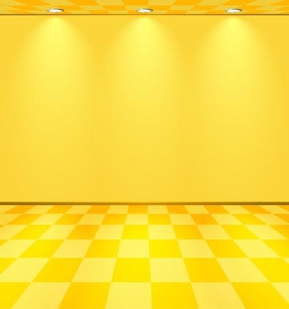 Habitación amarilla iluminada