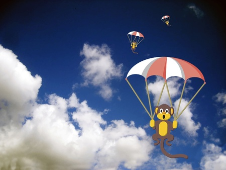 flying monkey: Monkeys in the sky Illustration