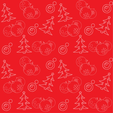 Christmas pattern with baubles and firs Vector