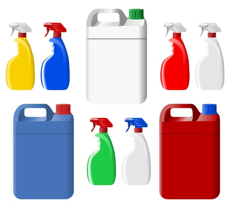 detergent: Set of plastic spray bottles and canisters
